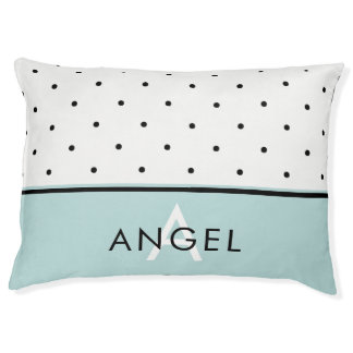 Aqua Blue with Black and White Polka Dots and Name Pet Bed