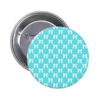 Aqua Blue With White Wedding Bow 2 Inch Round Button