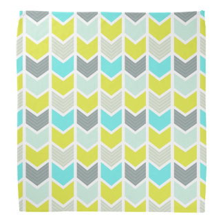 Aqua Blue Yellow Gray Geometric Chevron Pattern Bandana