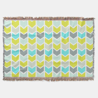 Aqua Blue Yellow Gray Geometric Chevron Pattern Throw Blanket