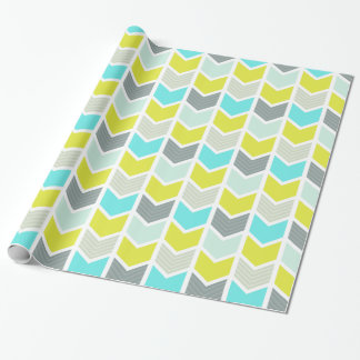 Aqua Blue Yellow Gray Geometric Chevron Pattern Wrapping Paper