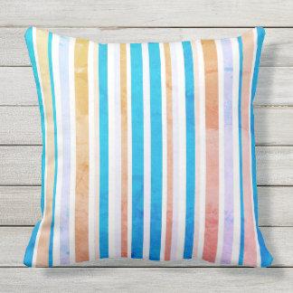 Aqua Blue Yellow Orange White Outdoor Throw Pillow