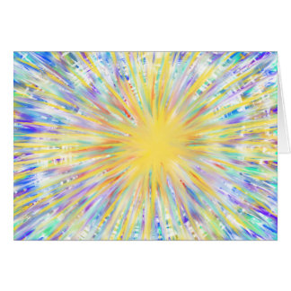 Aqua Blue Yellow Starburst Star of Wonder Xmas Art Card