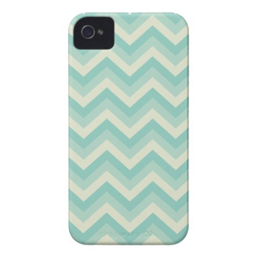 Aqua Blue Zigzag Pattern iPhone 4 Case-Mate Cases