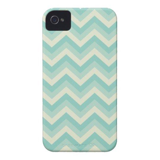 Aqua Blue Zigzag Pattern iPhone 4 Case-Mate Cases