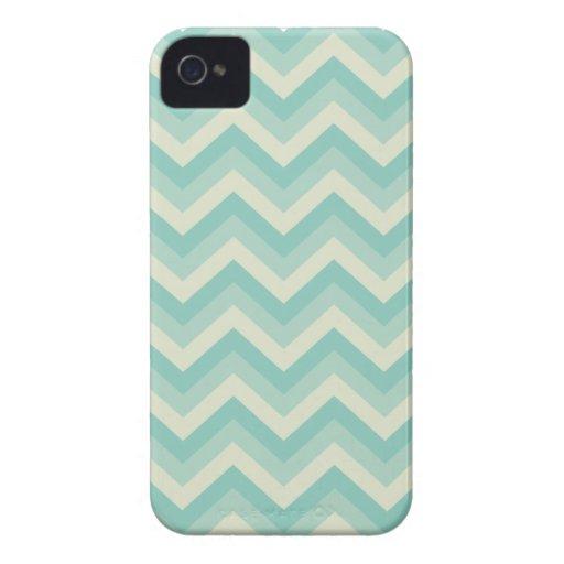 Aqua Blue Zigzag Pattern iPhone 4 Covers