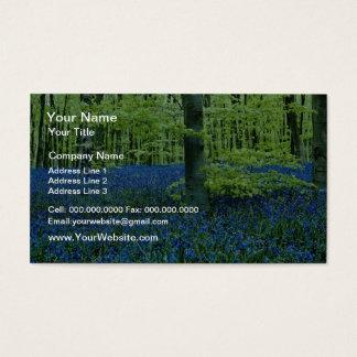 Aqua Bluebell Woods flowers Business Card