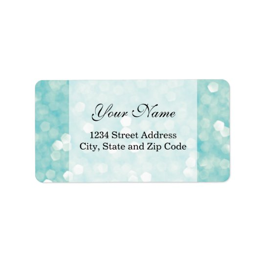 Aqua Bokeh Glitter Sparkles Label