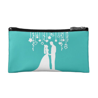 Aqua Bride and Groom Wedding Silhouettes Cosmetics Bags