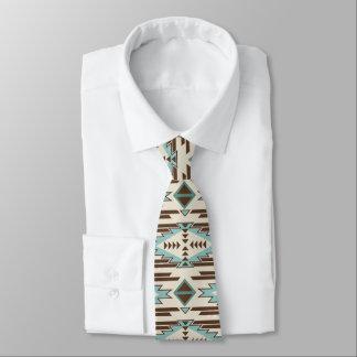 Aqua Brown Aztec Pattern Tie