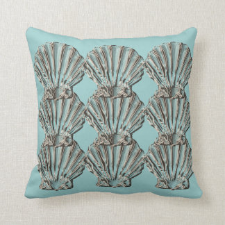 Aqua brown beach cottage shell throw pillow