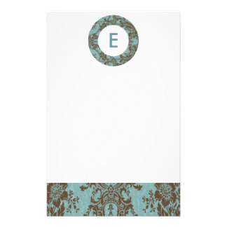 Aqua Brown Damask Customizable Monogram Stationery