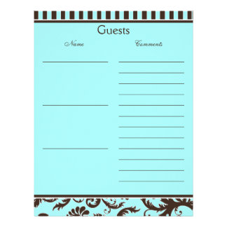 Aqua, Brown, White Stripe Damask Guest Book Paper