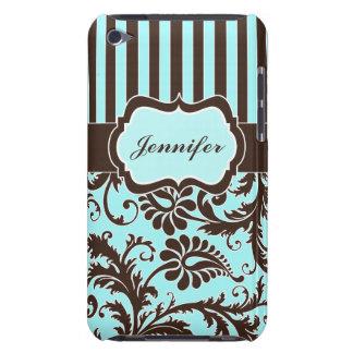 Aqua, Brown, White Striped Damask iPod Touch Case