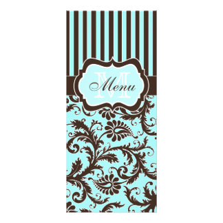 Aqua, Brown, White Striped Damask Menu Card