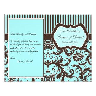 Aqua, Brown, White Striped Damask Wedding Program