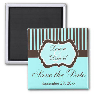 Aqua, Brown, White Striped Save the Date Magnet