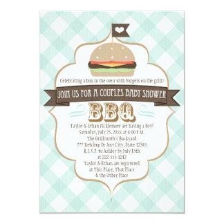 Aqua Burger Couples BBQ Baby Shower Invitations