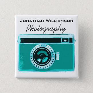 Aqua Camera Photography Business 2 Inch Square Button