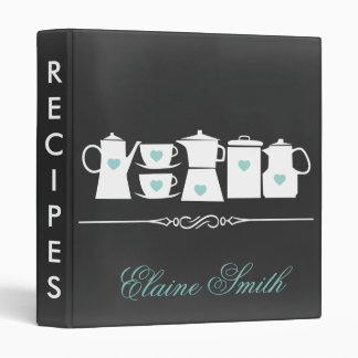 Aqua Chalkboard Kitchen Bridal Recipe Folder Binder