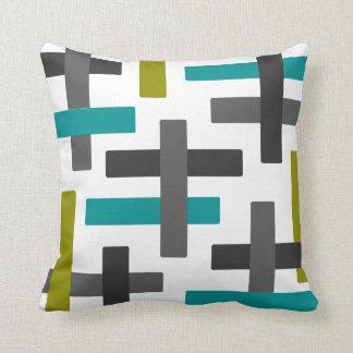 Aqua, Chartreuse and Grey Abstract Art Throw Pillow