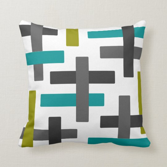 Aqua, Chartreuse and Grey Abstract Art Throw Pillow