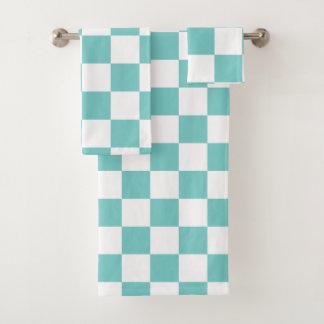 Aqua Checkerboard Bath Towel Set