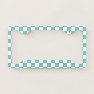 Aqua Checkerboard License Plate Frame