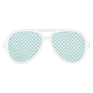 Aqua Checkerboard Pattern Aviator Sunglasses