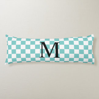 Aqua Checkerboard Pattern Body Pillow