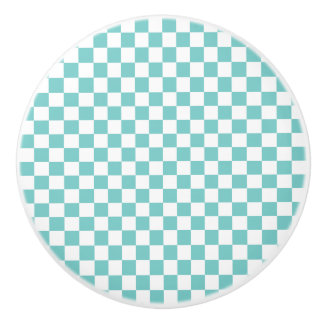 Aqua Checkerboard Pattern Ceramic Knob