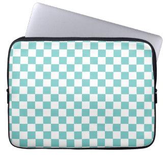 Aqua Checkerboard Pattern Computer Sleeve