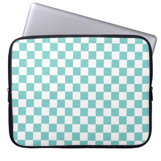 Aqua Checkerboard Pattern Computer Sleeves