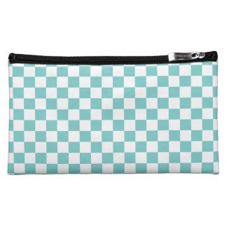 Aqua Checkerboard Pattern Cosmetic Bag