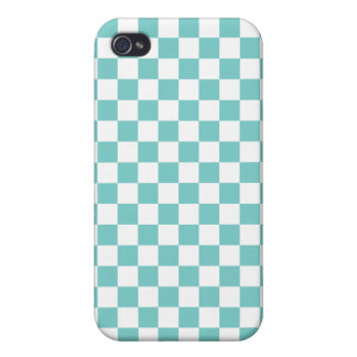 Aqua Checkerboard Pattern Cover For iPhone 4