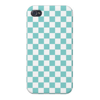 Aqua Checkerboard Pattern Covers For iPhone 4
