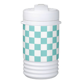Aqua Checkerboard Pattern Drinks Cooler