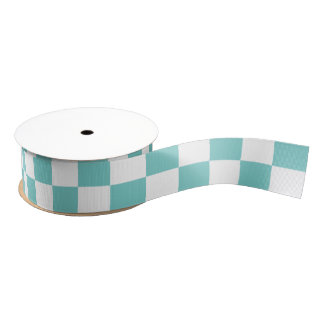 Aqua Checkerboard Pattern Grosgrain Ribbon