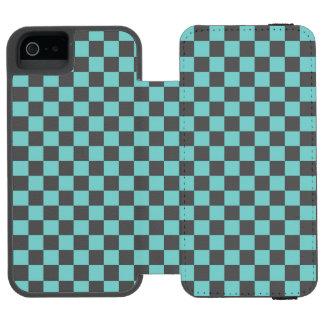 Aqua Checkerboard Pattern Incipio Watson™ iPhone 5 Wallet Case