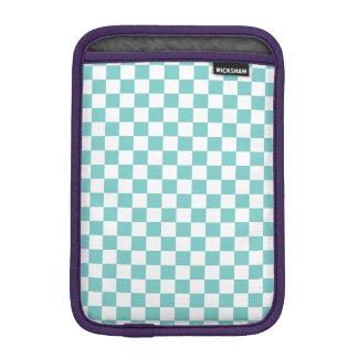Aqua Checkerboard Pattern iPad Mini Sleeve