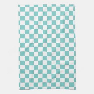 Aqua Checkerboard Pattern Kitchen Towel