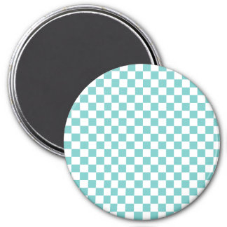 Aqua Checkerboard Pattern Magnet