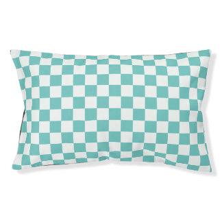 Aqua Checkerboard Pattern Pet Bed