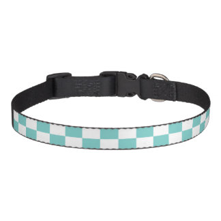 Aqua Checkerboard Pattern Pet Collar