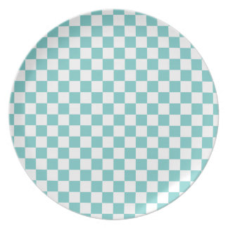 Aqua Checkerboard Pattern Plate