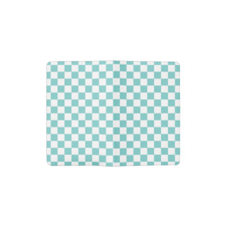 Aqua Checkerboard Pattern Pocket Moleskine Notebook