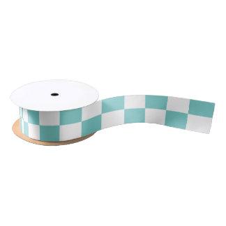 Aqua Checkerboard Pattern Satin Ribbon