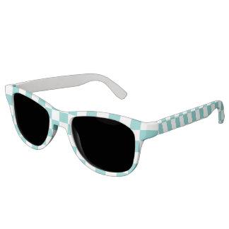 Aqua Checkerboard Pattern Sunglasses