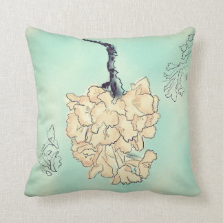 Aqua Cherry Blossoms Throw Pillow