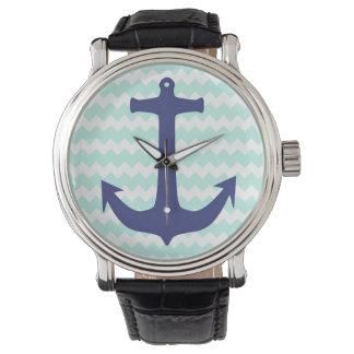 Aqua Chevron Blue Anchor Watch